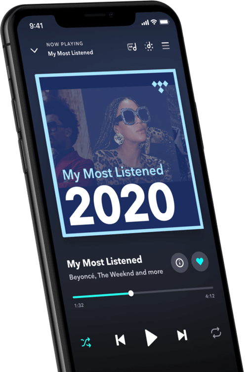 An iPhone playling a My Most Listened 2020 playlist in the TIDAL app